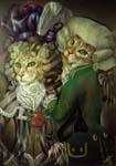 Табби восточная и бенгал в костюмах эпохи Людовика XVI