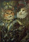 """Черепахово-белая мэнская и кот """"дворянин"""" в испанских костюмах эпохи возрождения"""