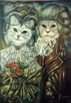 Сибирская и шотландский вислоухий в костюмах эпохи Людовика XVI